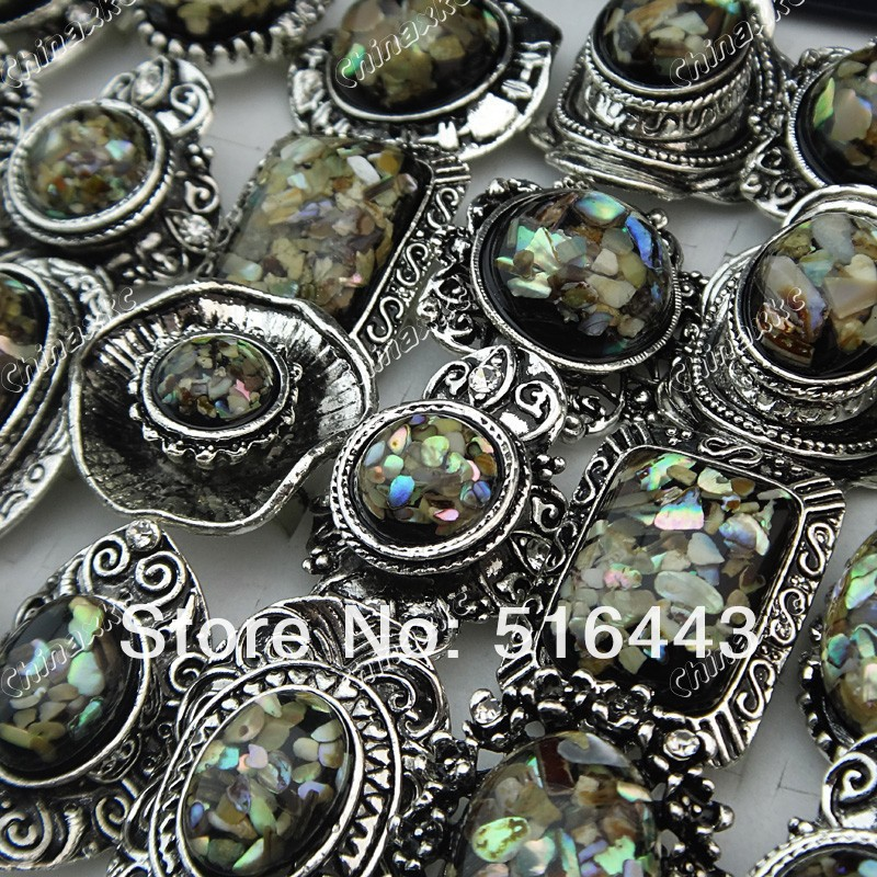 A-630 20pcs Czech Rhinestones Antique Silver Plated Women Mens Natural Shell Rings Wholesale Jewelry Lots Free Shipping