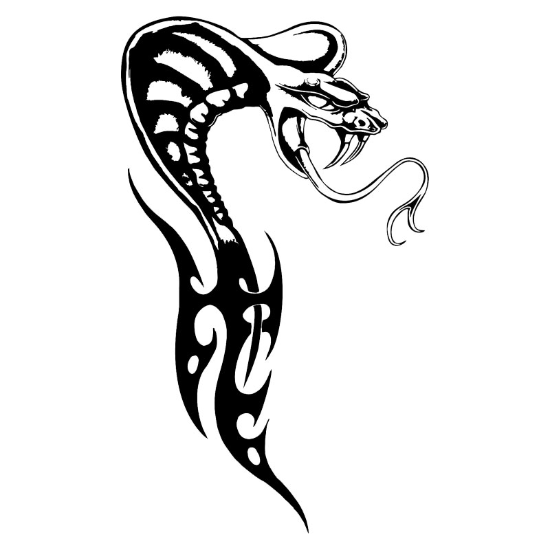 10.6*18CM Cobra Serpent Reptile Vinyl Car Styling Crazy Tribal Snake Car Stickers And Decal Black/Silver S1-2722 cobra snake emblem badge stickers car covers for ford shelby gt500 diameter 15 cm cobra styling 2015 new