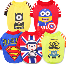 Cute Yorkshire Terrier Chihuahua Dog Clothes T-shirt Small Puppy Dog Vest Cartoon Superman Batman Pattern Pet Clothing XXS – L