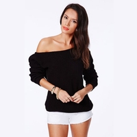 Candy Color One Shoulder Loose Long Sleeve Sweater Women Multi Wear All Matching Knitting Sweater Top