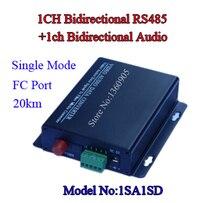 1SA1SD 1ch Bidirectional Data and Audio To Fiber Media Transceiver Gate Alarm CCTV Access Control System Application FC 20KM