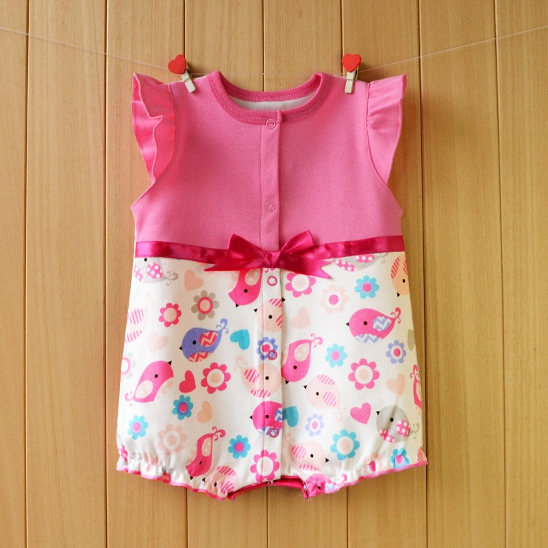 2017 Summer Baby Rompers Short Sleeve Baby Girls Clothing Sets Floral Print Kids Jumpsuits Roupas Bebes Newborn Baby Clothes newest 2016 summer baby rompers clothing short sleeve 100