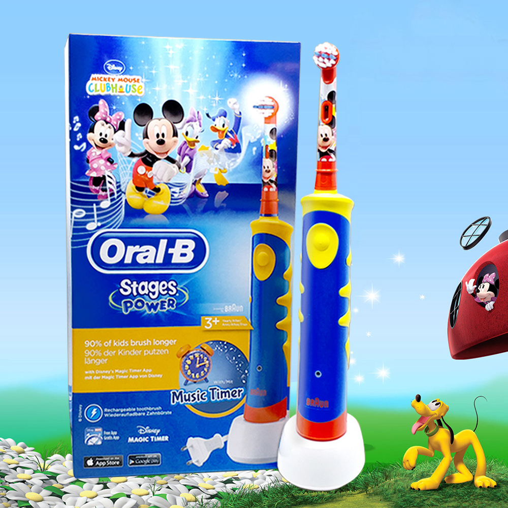 Oral B Children Rotator Electric Toothbrush Cartoon Music Timer Rechargeable Sonic Electric Tooth Brush For Kids Teeth Brush цена