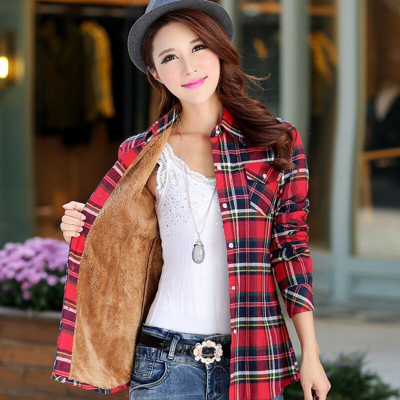 Jvzkass 2019 Winter New Version Plus Velvet  Female Long Sleeve Thick Warm Plaid Shirt Slim Bottoming Shirt Large Shirt Z284