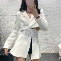 Spring Ladies Long Sleeve Blazer Women Tunic Suit Jacket Female Feminine Blazer Patchwork White Blazer