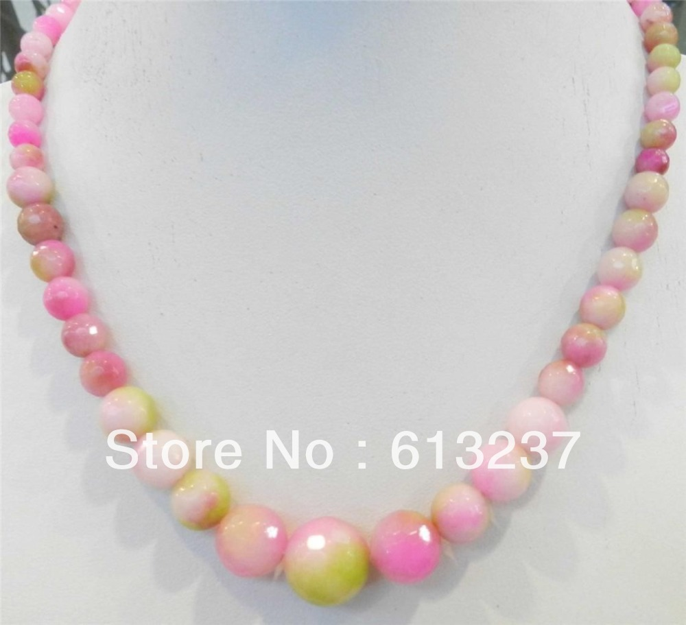 Shock-Resistant And Antimagnetic Inventive Fashion Style Diy 6-14mm Faceted Round Pink Multicolor Kunzite Jades Round Chalcedony Stone Beads Chain Tower Necklace Ge4139 Waterproof Jewelry & Accessories Necklaces & Pendants