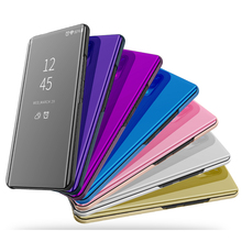Mirror Flip Case For  Huawei Y6 2018 Luxury Clear View PU Leather Cover Smart phone for