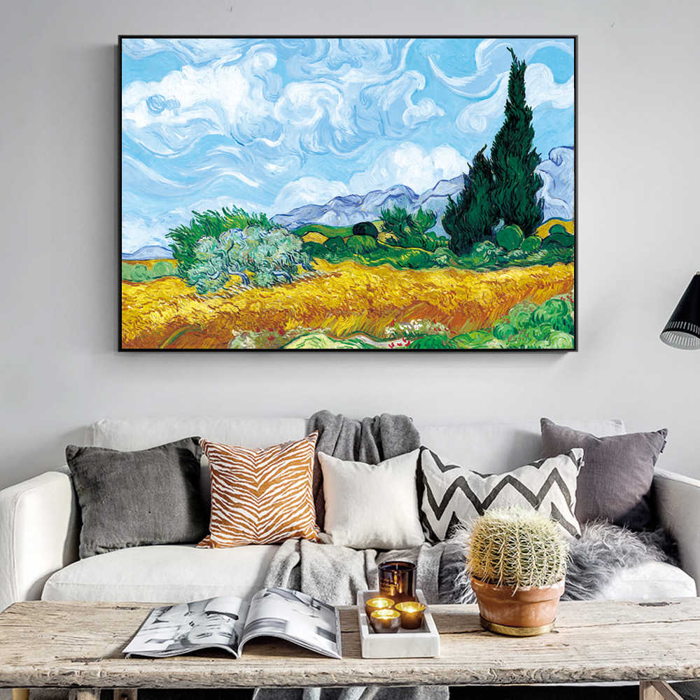 Wheatfield With Cypresses By Van Gogh Painting Replica On The Wall Impressionist Landscape Wall Art Canvas Picture Cuadros Decor