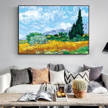 Wheatfield With Cypresses By Van Gogh Painting Replica On The Wall Impressionist Landscape Wall Art Canvas Picture Cuadros Decor painting the impressionist landscape