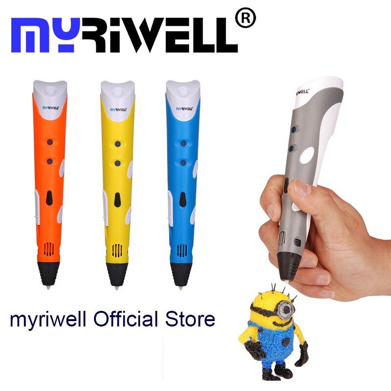 Myriwell Nagelneu Magie 3d drucker stift Zeichnung 3D Stift Mit 3 Farbe ABS filamente 3D Druck 3d stifte für kinder geburtstagsgeschenk