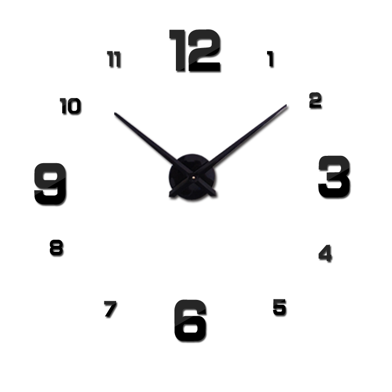 orët e reja të orëve të orës Dekorimi i shtëpisë së Stickers të Mëdhenj Wall Room Dhoma e jetesës 3D diy horloge pasqyre akrilike transporti falas të nxehtë