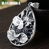 BALMORA Authentic 990 Pure Silver Jewelry Vintage Lotus Flower Hollow Pendants Women Mothers Gift Accessories Bijoux