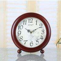 Meijswxj Solid Wood Table Clock Retro Wooden Clock Saat Reloj Masa saati Relogio de mesa Bedroom Digital Desktop Clocks 24*25cm