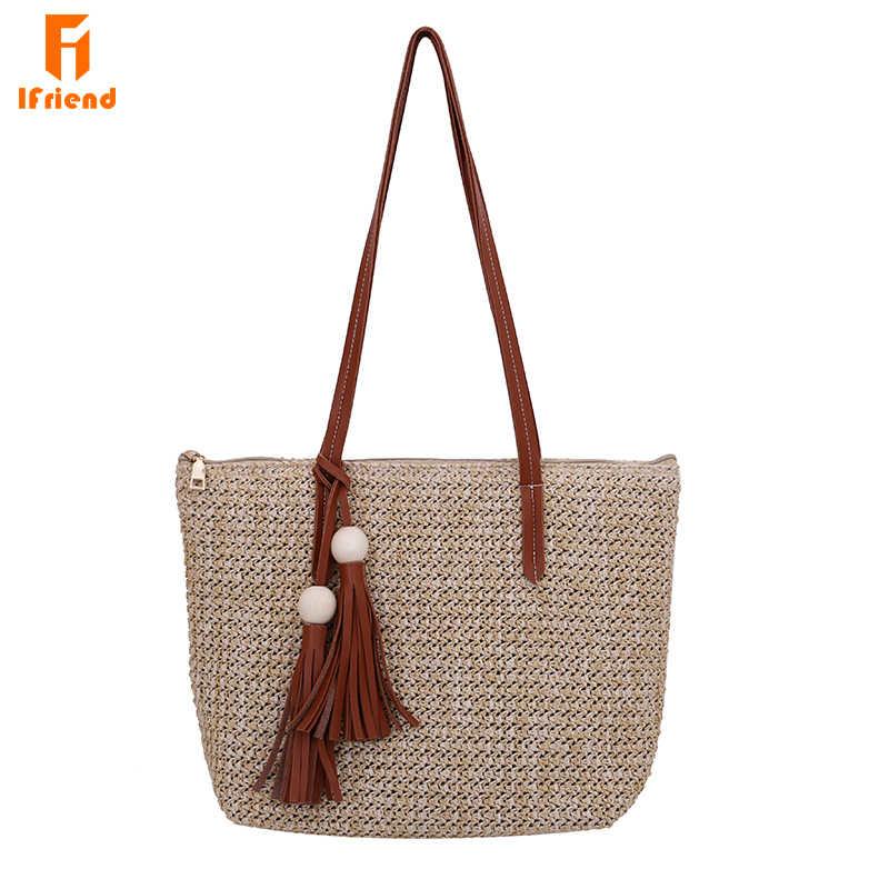 a56a17320288 ... Ifriend прочный ткань пляжные сумки соломенные Лен тканые ведро Для женщин  сумка трава Повседневное Tote Сумки ...