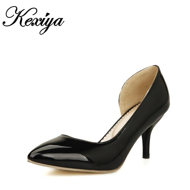 4695ba02efa Estilo mulheres sapatos tamanho grande 30-50 Moda verão sexy Doce cor Dedo  Apontado Slip-On sapatos de salto alto zapatos mujer HQW-668