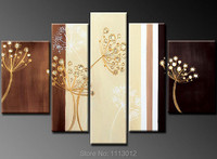 100% HandPainted Abstract 5P Dandelion Flower Oil Painting On Canvas Home Wall Art Set Decoration Modern For Living Room Picture