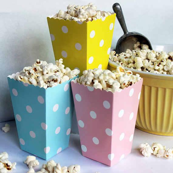48 pcs Nhỏ Polka Dot Bỏng Ngô Hộp Bé Màu Xanh Màu Vàng Bé Tiệc Cưới Màu Hồng Bé Favors Vòi Hoa Sen Cookie Hộp Snack túi
