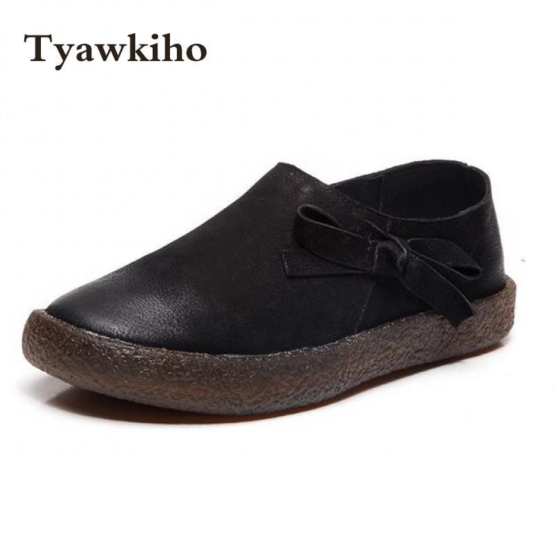 Tyawkiho Genuine Leather Women Flats Black Casual Leather Shoe Slip On Handmade Women Loafers Soft Bottom 2018 Spring Women Flat roxy women s lido iii b slip on shoe flat