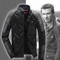 David Backham Jacket Autumn Winter Causal Dress Brand Sheepskin Leather Jacket Men Splice Design Nuback Leather Short Suede Coat