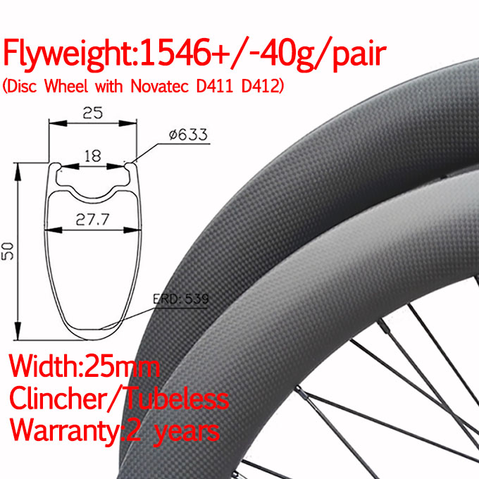1 carbon disc wheel 50mm width 25mm 3- 680