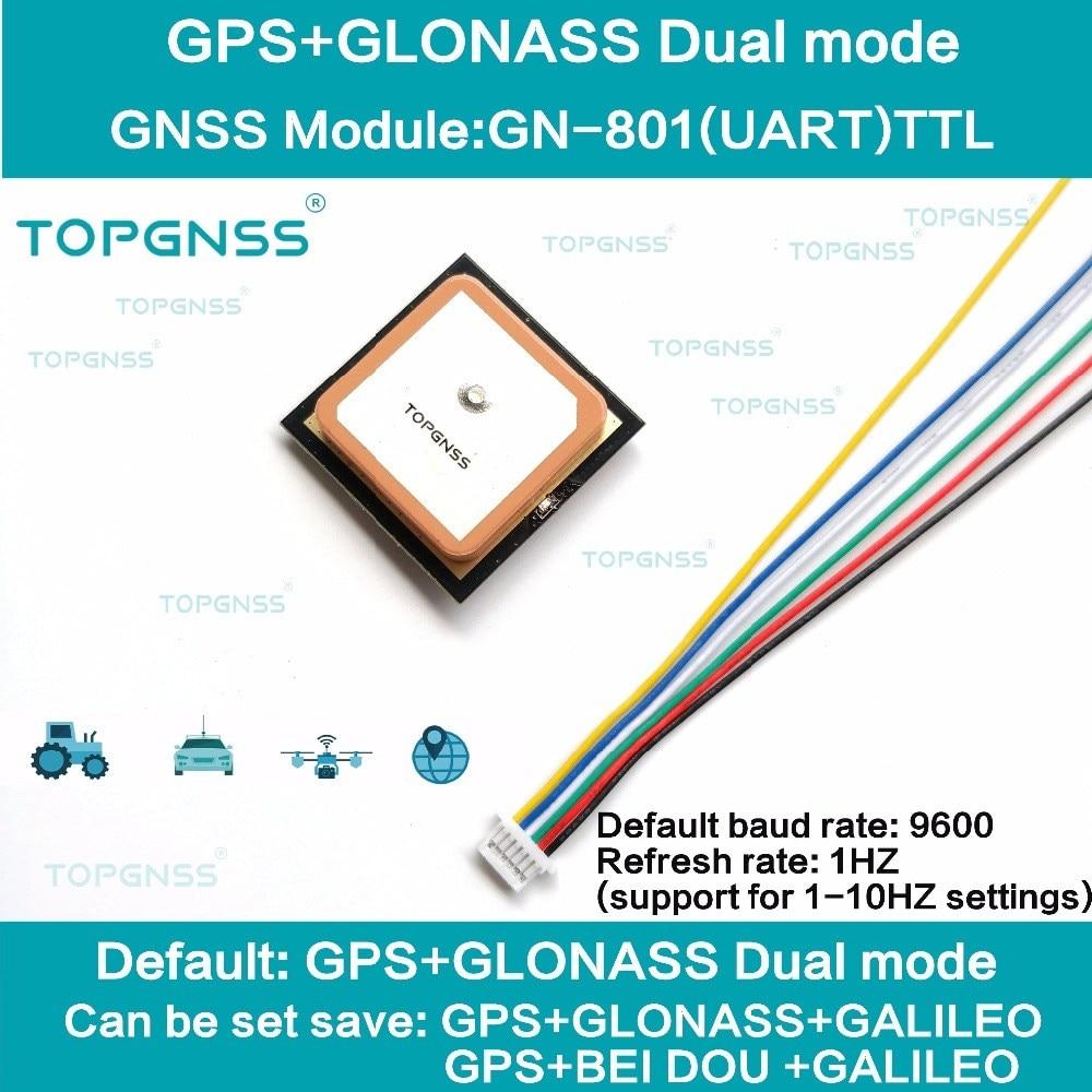 Receptor duplo da antena do módulo de m8n gnss, flash incorporado, nmea0183 fw3.01 topgnss 3.3-5 v ttl uar gps modue GN-801 gps glonass