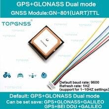 Receptor duplo da antena do módulo de m8n gnss, flash incorporado, nmea0183 fw3.01 topgnss 3.3 5v ttl uar gps modue GN 801 gps glonass