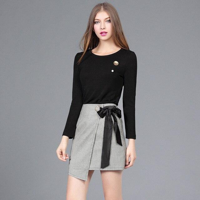 2017 New Spring  Designer Women's Clothing Set Black Dark Gray Knitted O Neck Top Tee+short Skirt Women Clothing Suit 6013
