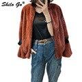 Fur Coat Womens Winter Fashion whole real Mink Fur Short coat V Neck Puff sleeve Brown motorcycle jacket