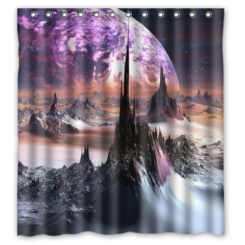 Planet Stars Mountains Custom Made Shower Curtain Fabric Bath Bathroom Waterproof Curtains Size 48x7260x7266x72 Inches In From Home