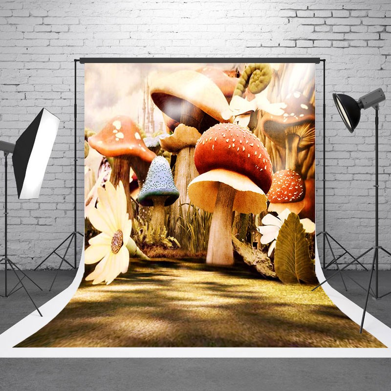 5x7ft Mushroom Vinyl Photography Background Gallery Wedding For Studio Photo Props Photographic Backdrops Cloth 5x7f wedding party outdoor photography backdrops photo studio props villa vinyl photography background cloth 210cm x 150cm