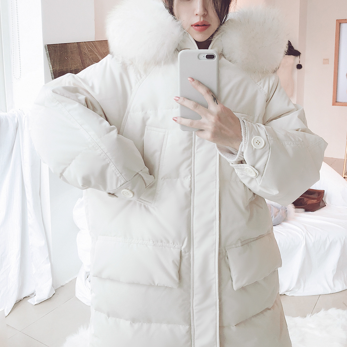 2018Winter   down   jacket woman hooded Korea long   down     coat   datachable large raccoon fur women's oversize   down   jacket winter by9129