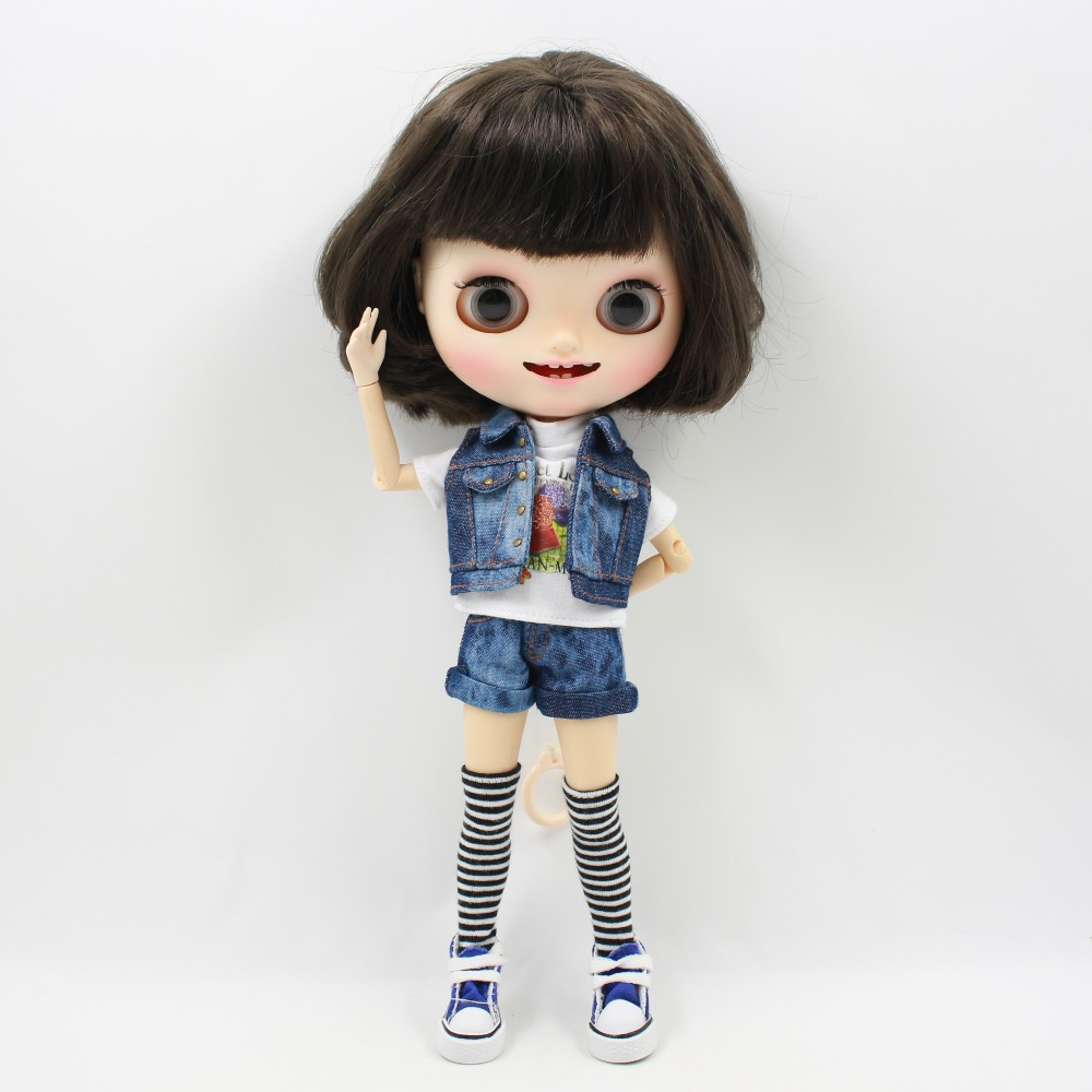 free shipping Fortune Day blyth doll icy licca body cool outfit jeans shorts legging white shirt 1/6 цена и фото