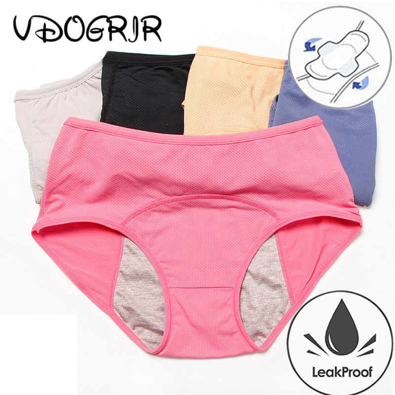 VDOGRIR High Waist Female   Panty   Menstrual   Panties   Physiological Pants Leak Proof Women Underwear Period Cotton Breathable Briefs