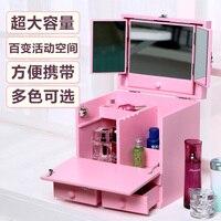 Wooden Dresser Drawer Type Large Desktop Cosmetic Makeup Skincare Cabinet Storage Cassette Mirror Cover