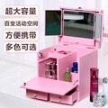Organizador Caja De Madera Aparador Cajón Tipo de Grandes Cajas de La Cubierta de Cassette Espejo Gabinete de Almacenamiento de Escritorio Cosméticos Maquillaje Cuidado de La Piel