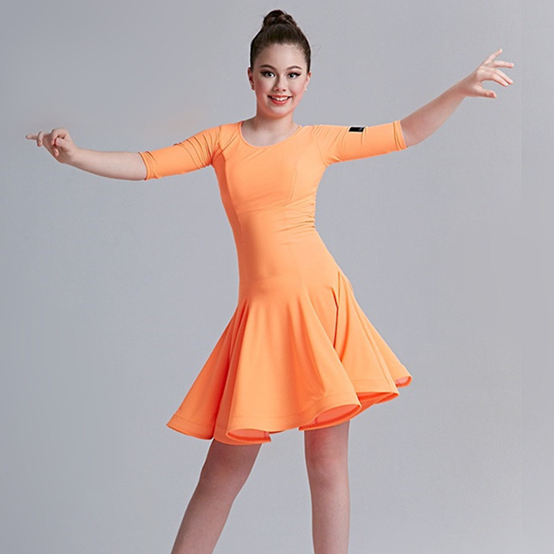 Picture of 5 Colors Yellow Latin Dress For Girls Dance Costume Latin Salsa Dress Latino Dance Dress Fringe Kids Modern Dance Costumes