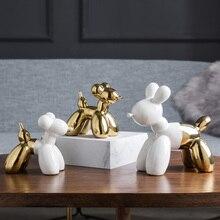 Nordic ceramic white Golden Balloon dog statue cute home decor crafts room decoration porcelain animal figurines