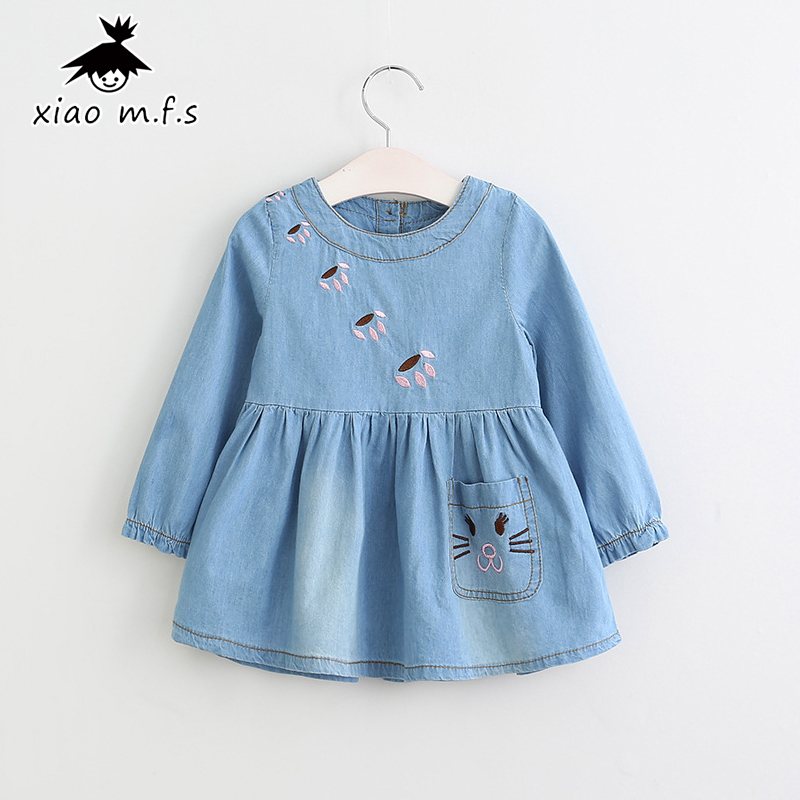 цена на High Quality Child Girls Denim Dresses Jeans Blue Kids Clothes 2017 New Children Clothing Long Sleeves A Line for 2-7Y MFS-5042