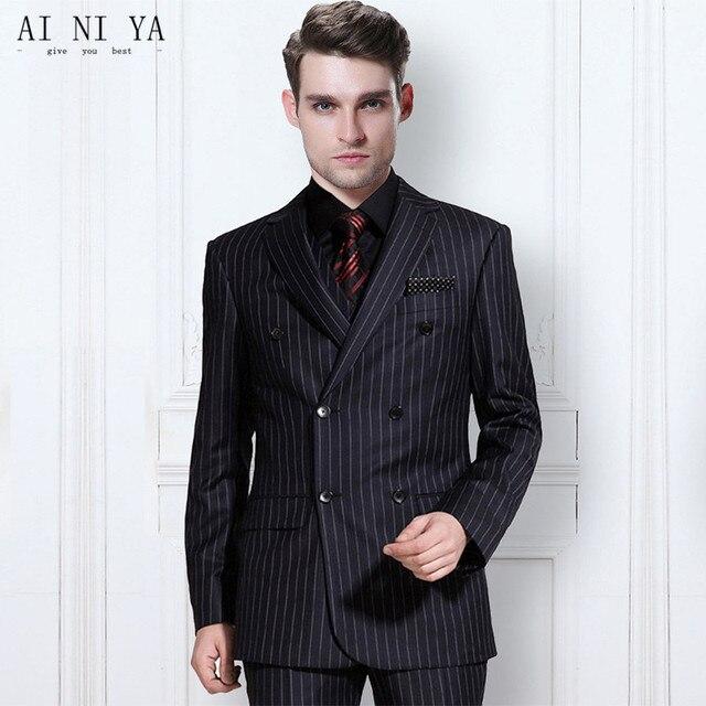 9b400424657 US $169.99 |De nieuwste trend mannen gestreepte suit bruidegom pakken maat  toegesneden driedelig pak mode bruidegom pak (jas + broek + vest) in De ...
