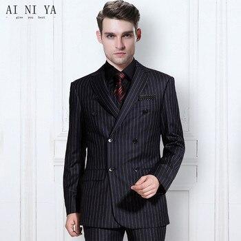 abe98e74ab La última tendencia de los hombres rayas traje novio trajes de boda hecho a  medida traje