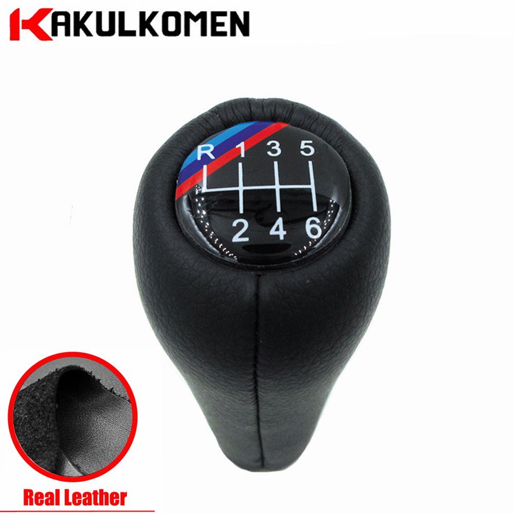 Real Leather 5 Speed 6 Speed Gear Shift Knob Handle Knob With 3 Color Lines For BMW E90 E91 E92 F30 Z5 F20 M3 M4 M5 X5 X6