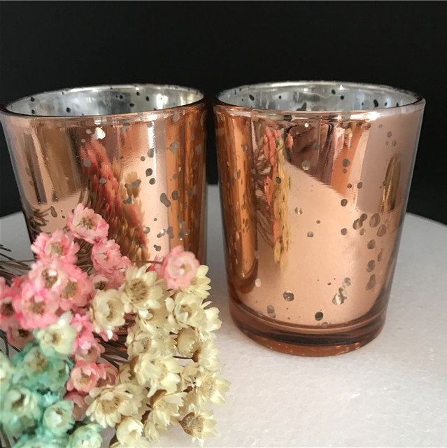 Free Shipping 12pcs/Lot 2.5 Inch Gold & Silver Mercury Glass Candle ...