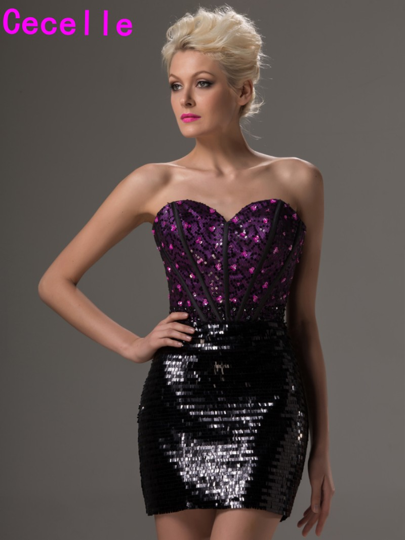 Glitter Purple Black Sequins Mini Prom   Cocktail     Dresses   Strapless Beaded Crystals Club   Dresses   Tight Fitted Party   Dresses   2019