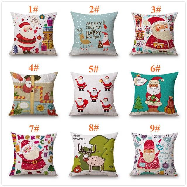 Maiyubo Navidad cojín Santa Claus patrón caso sofá almohada hogar ...
