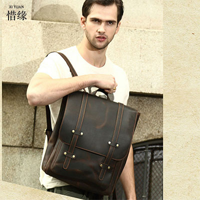 Famous Brand Genuine Leather Men Backpack Bags Large male Travel Bag Luxury Designer Leather School student Bag Laptop Backpacks 2017 new masked rider laptop backpack bags cosplay animg kamen rider shoulders school student bag travel men and women backpacks
