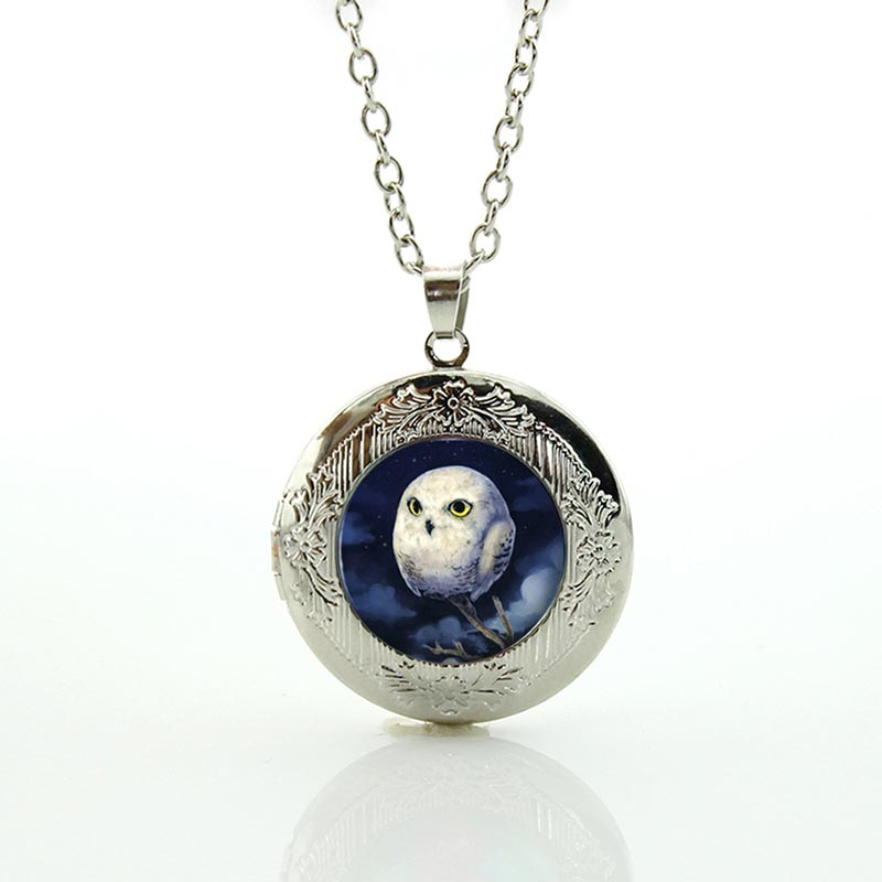 Hot sale vintage owl statement necklace cute baby bird art glass vintage owl statement necklace cute baby bird art glass photo locket pendant antique owl women charms christmas jewelry n613 aloadofball Image collections