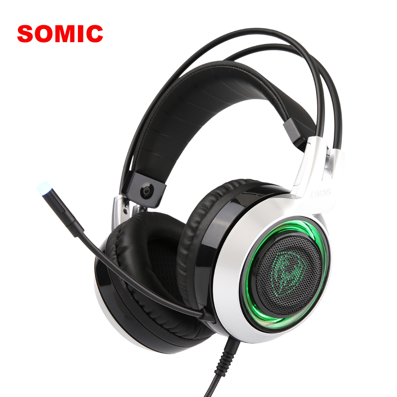 SOMIC G951 USB gaming headphones with microphone for computer Stereo sound gamer gaming headset with 3 LED light for pc gaming headset led light glow noise cancealing pc gamer super bass headband headphones with microphone for computer pc