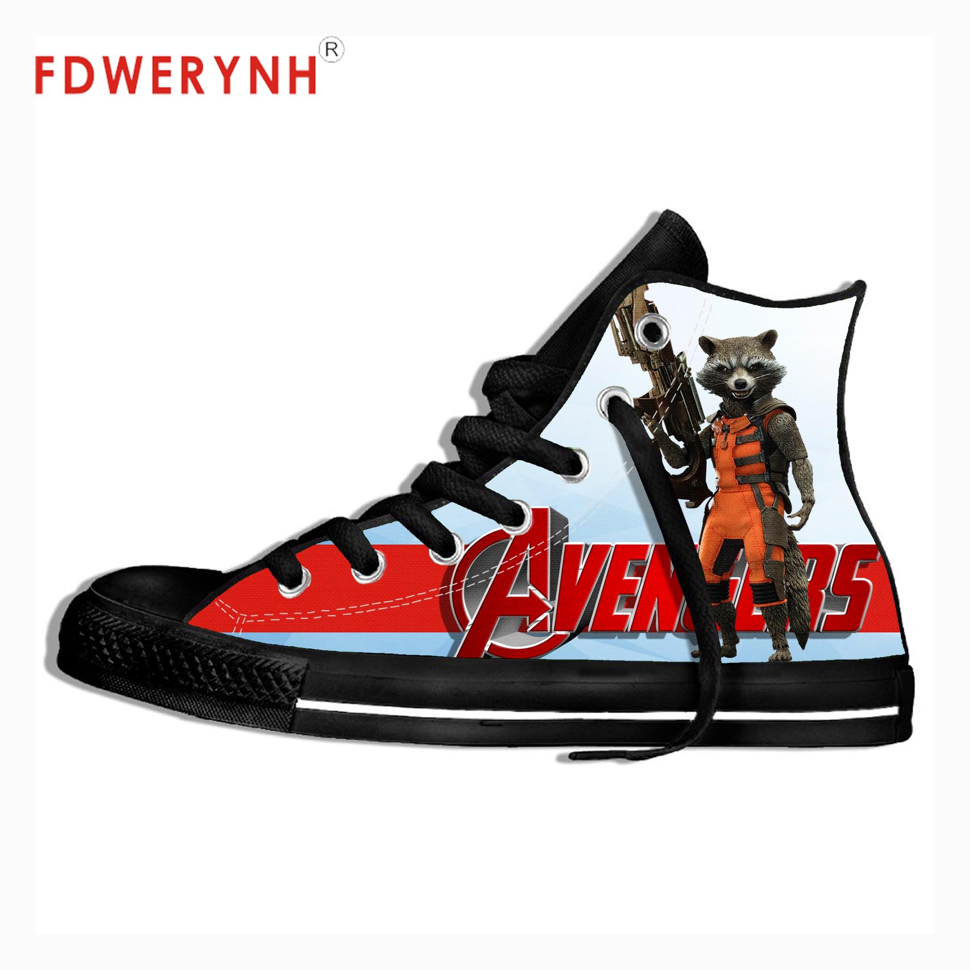Hommes personnalisé chaussures décontractées Avengers fusée raton laveur impression 3D loisirs de plein air hommes toile chaussures