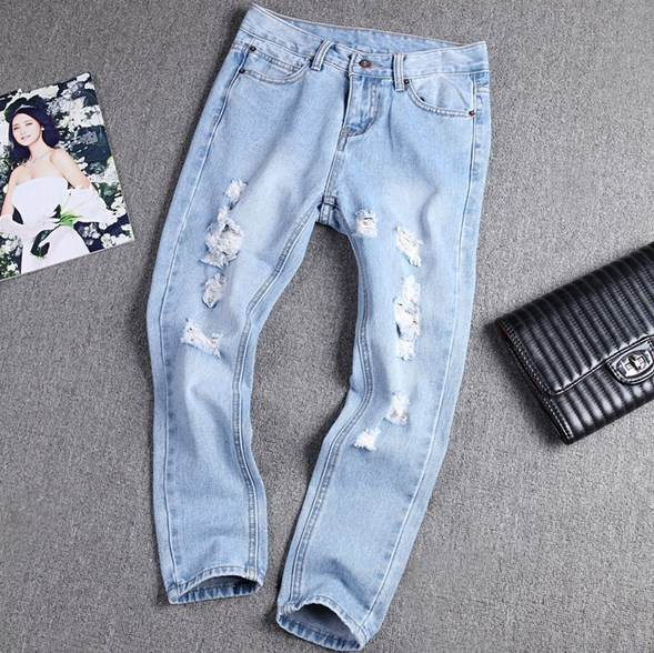2017 Women Boyfriend Distressed Jeans Ripped Harem jean Pants Vintage Jeans Denim Trousers Loose Jeans Bottom Plus Size 32 33 loose ankle length jeans for women 2017 new vintage distressed high waist ripped denim harem pants woman trousers plus size