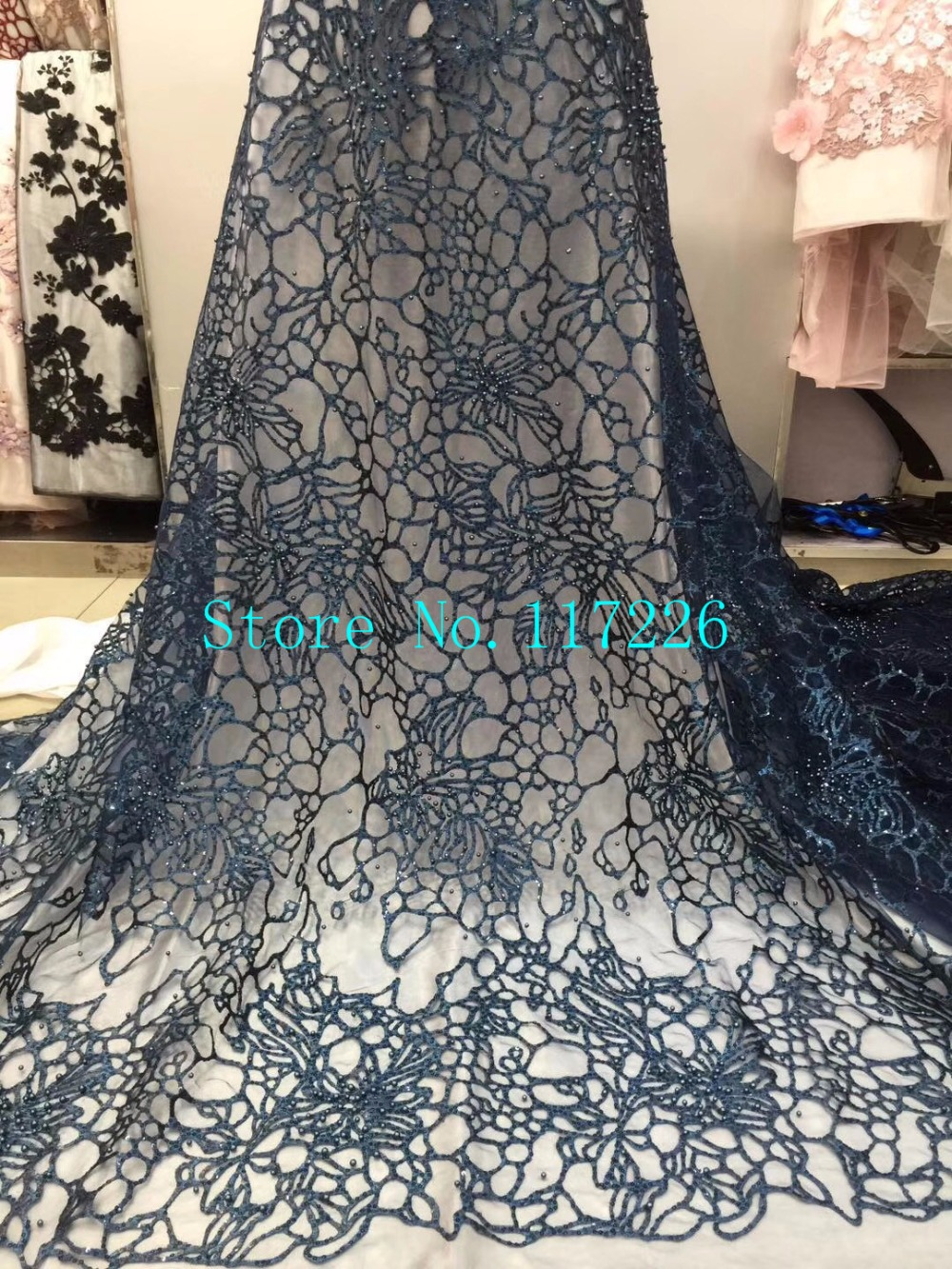 luxury JRB 8350 Embroidered African tulle French Lace Fabric With glass beads best quality
